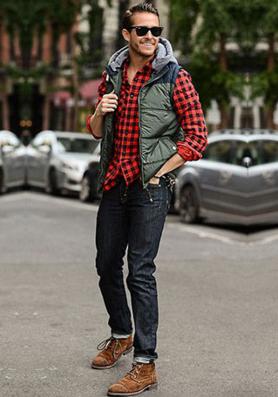 アメリカンカジュアルの王道ファッションコーデをした男性