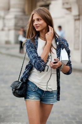 Tシャツxショーツにチェックシャツをコーデする女性